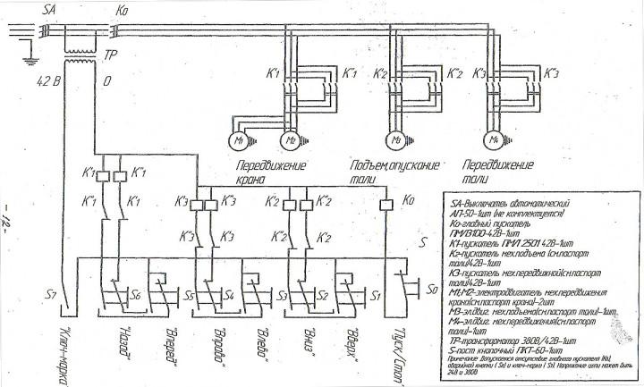 Кран мостовой на принципиальной схеме