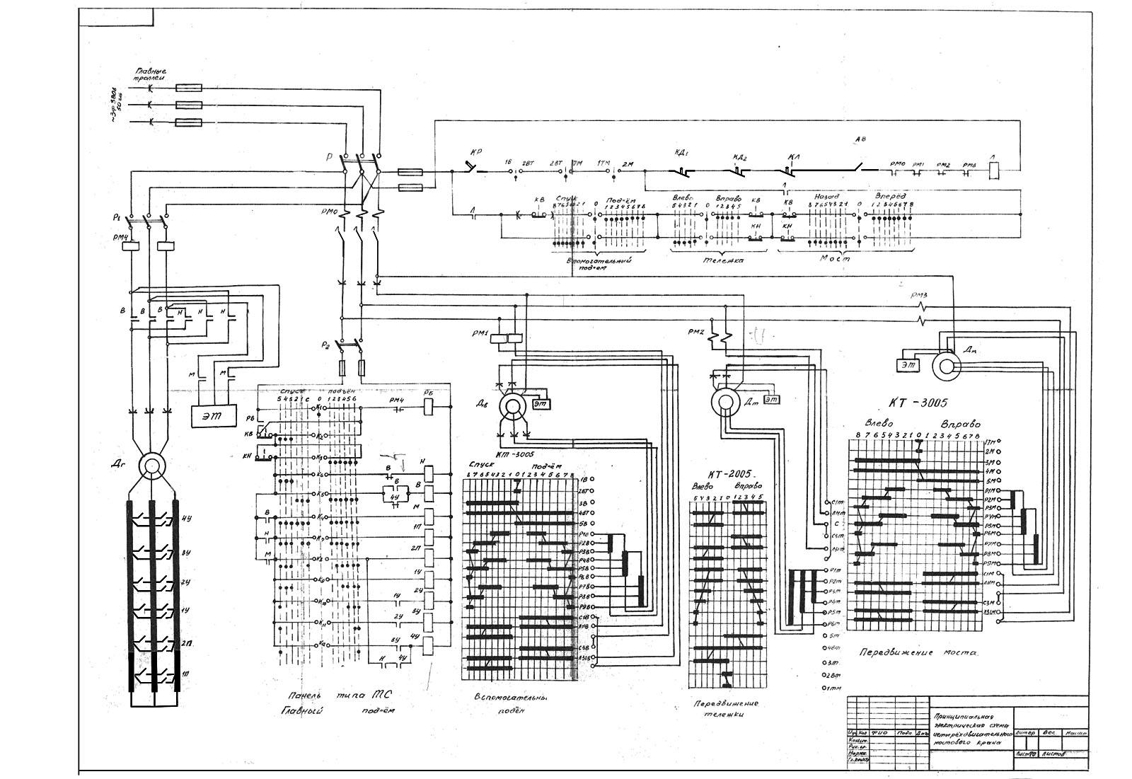 Схема мостового крана электрического