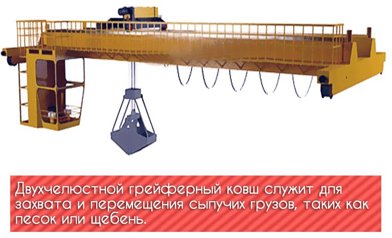 Узлы кранов мостового типа: грейфер-ковш
