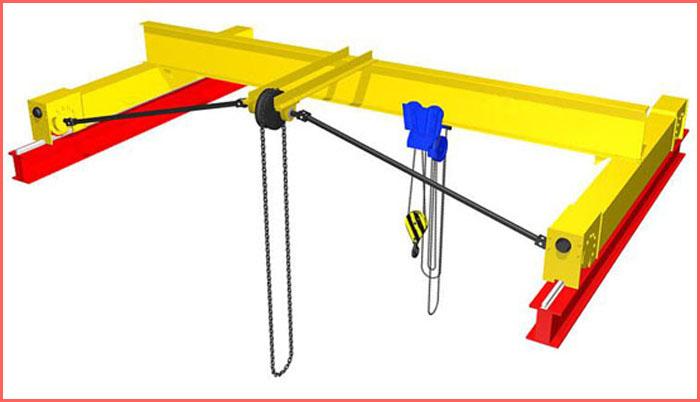 Мостовой ручной однобалочный подвесной кран